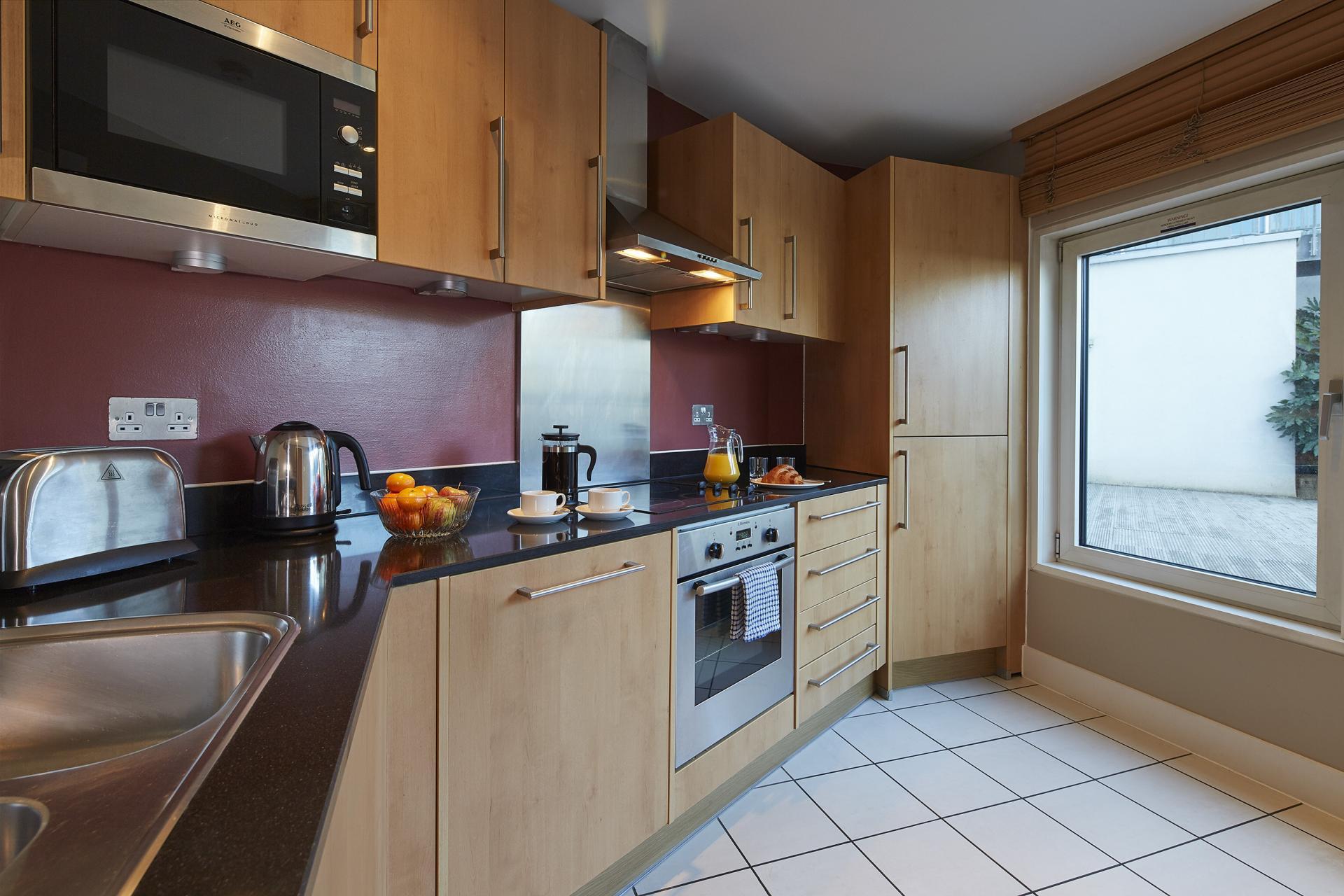Modern kitchen at Empire Square Apartments, London Bridge, London