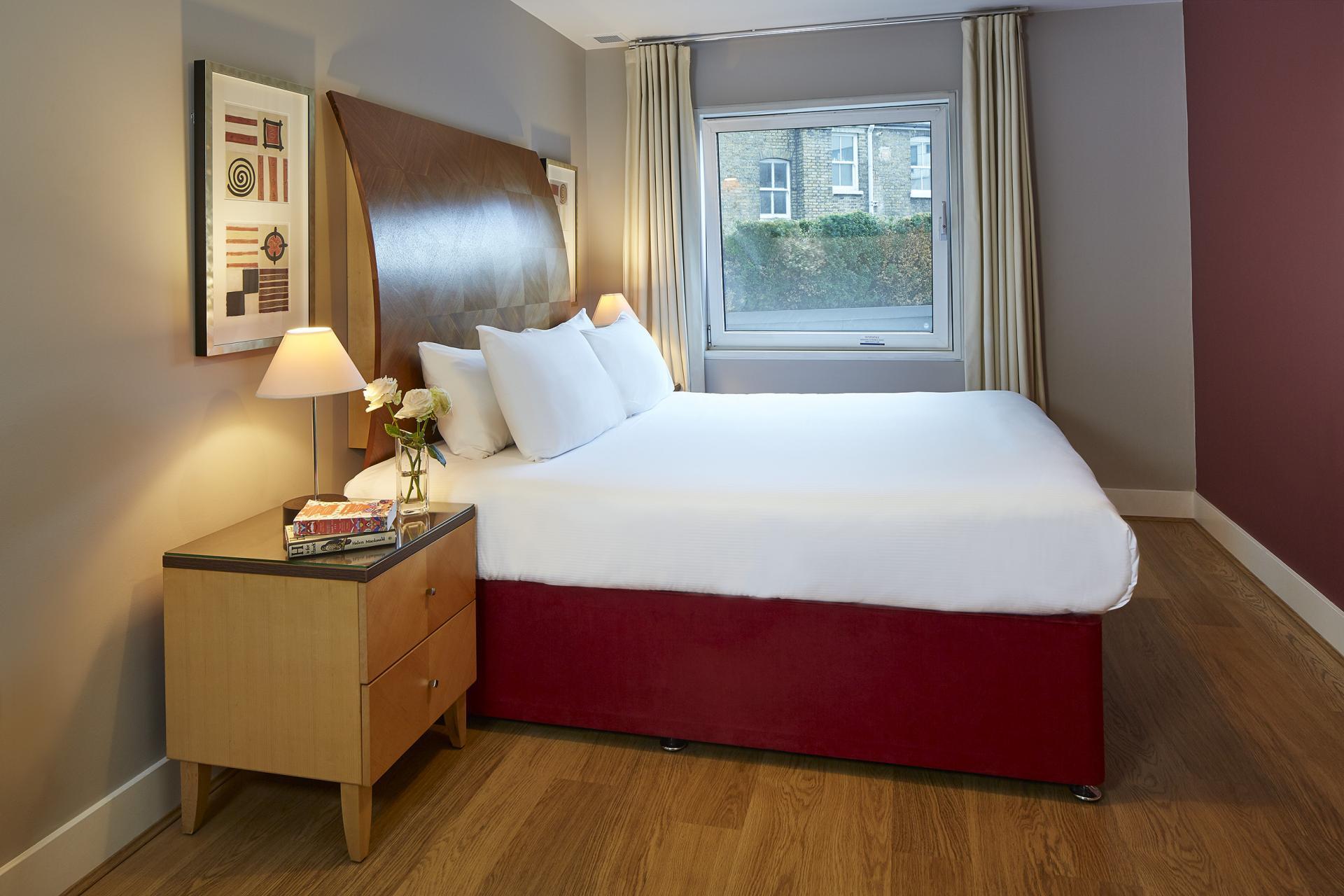 Bright bedroom at Empire Square Apartments, London Bridge, London