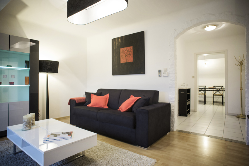 Spacious living area at Villa Medici Apartments