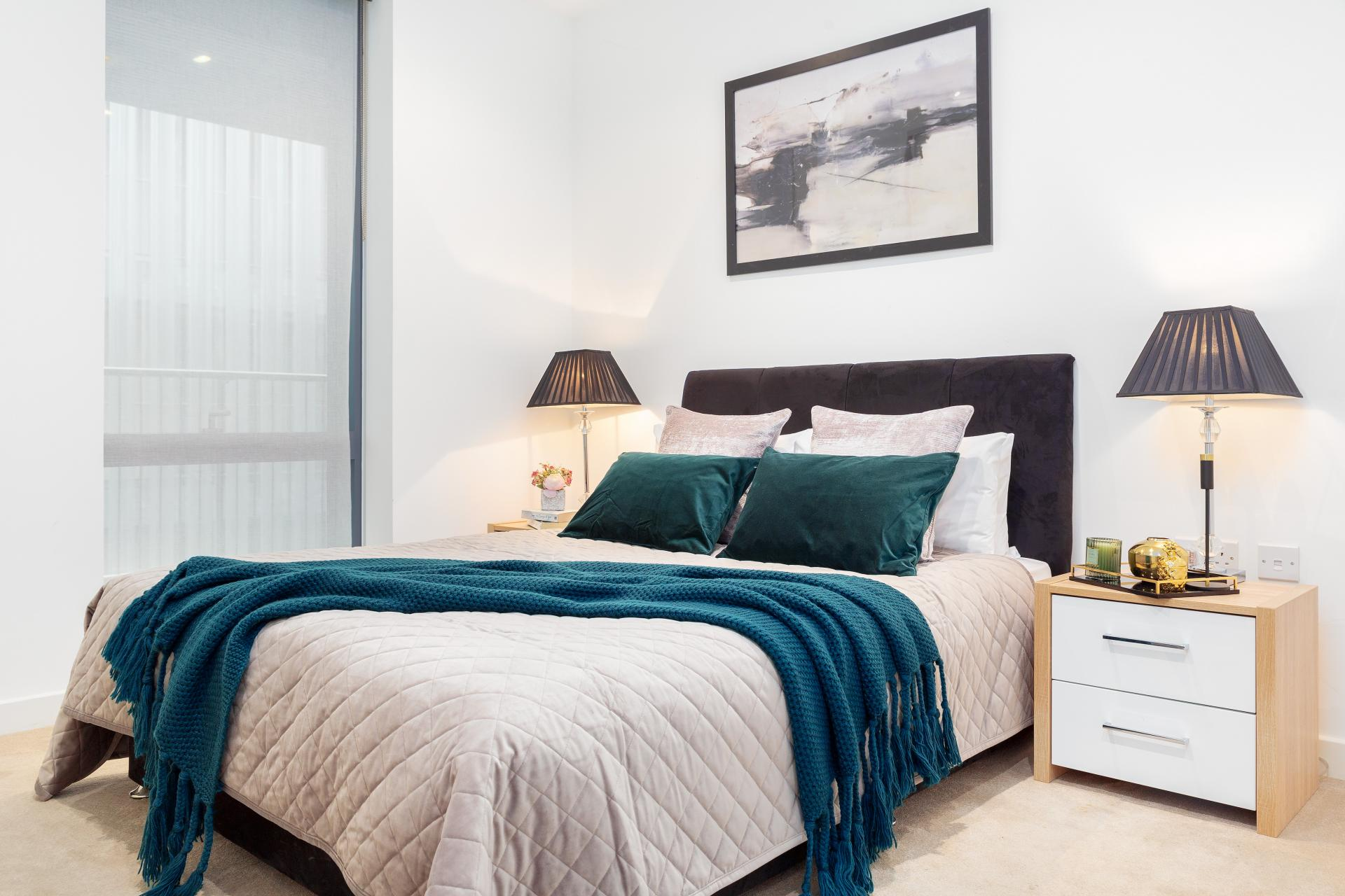 Double bed at Lexicon Book House Apartments