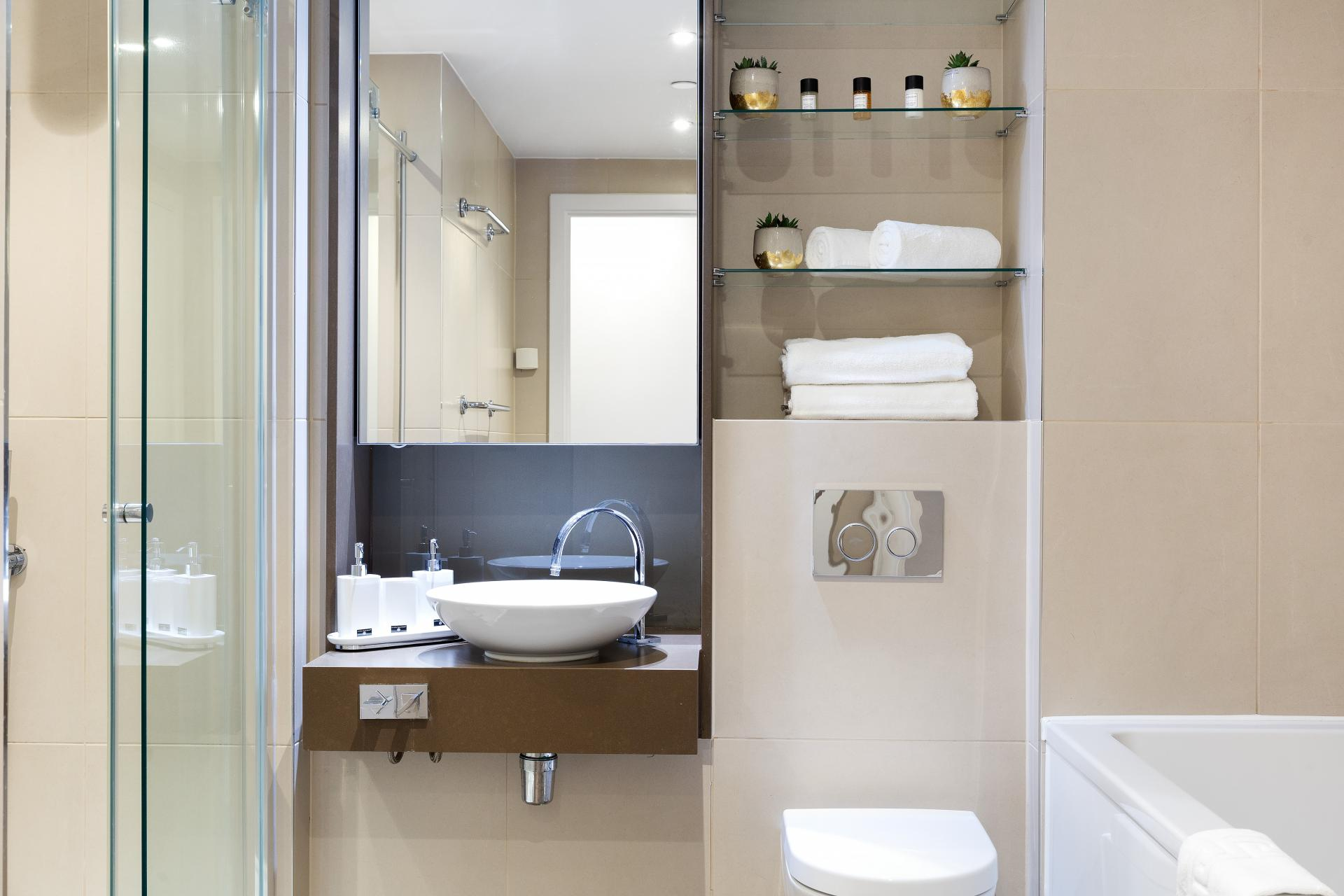 Bathroom mirror and storage at Lexicon Book House Apartments