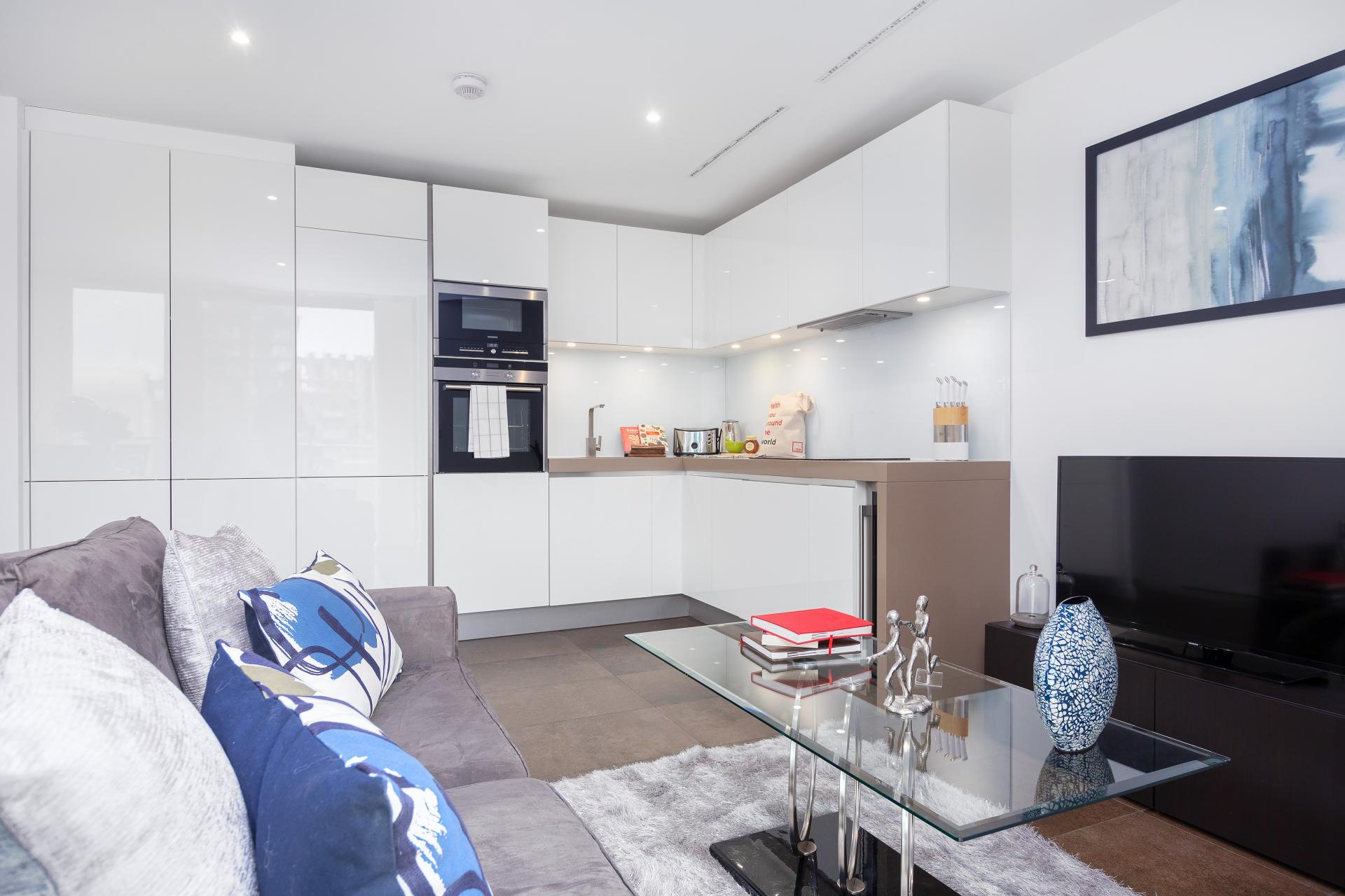 Open-plan living space at Lexicon Book House Apartments
