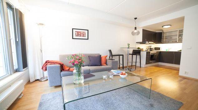 Living room at the Bjorvika Apartments