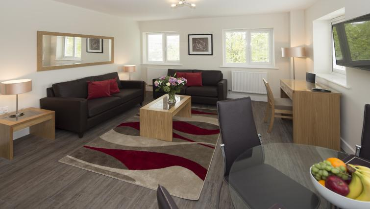 Living area at Beneficial House Apartments