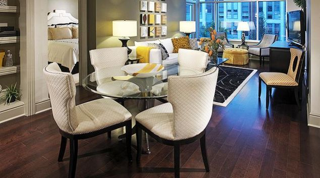 Living area at Cresent Falls Apartment