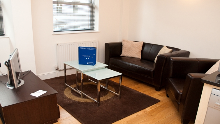 Simple living area at Clarendon 140 Minories