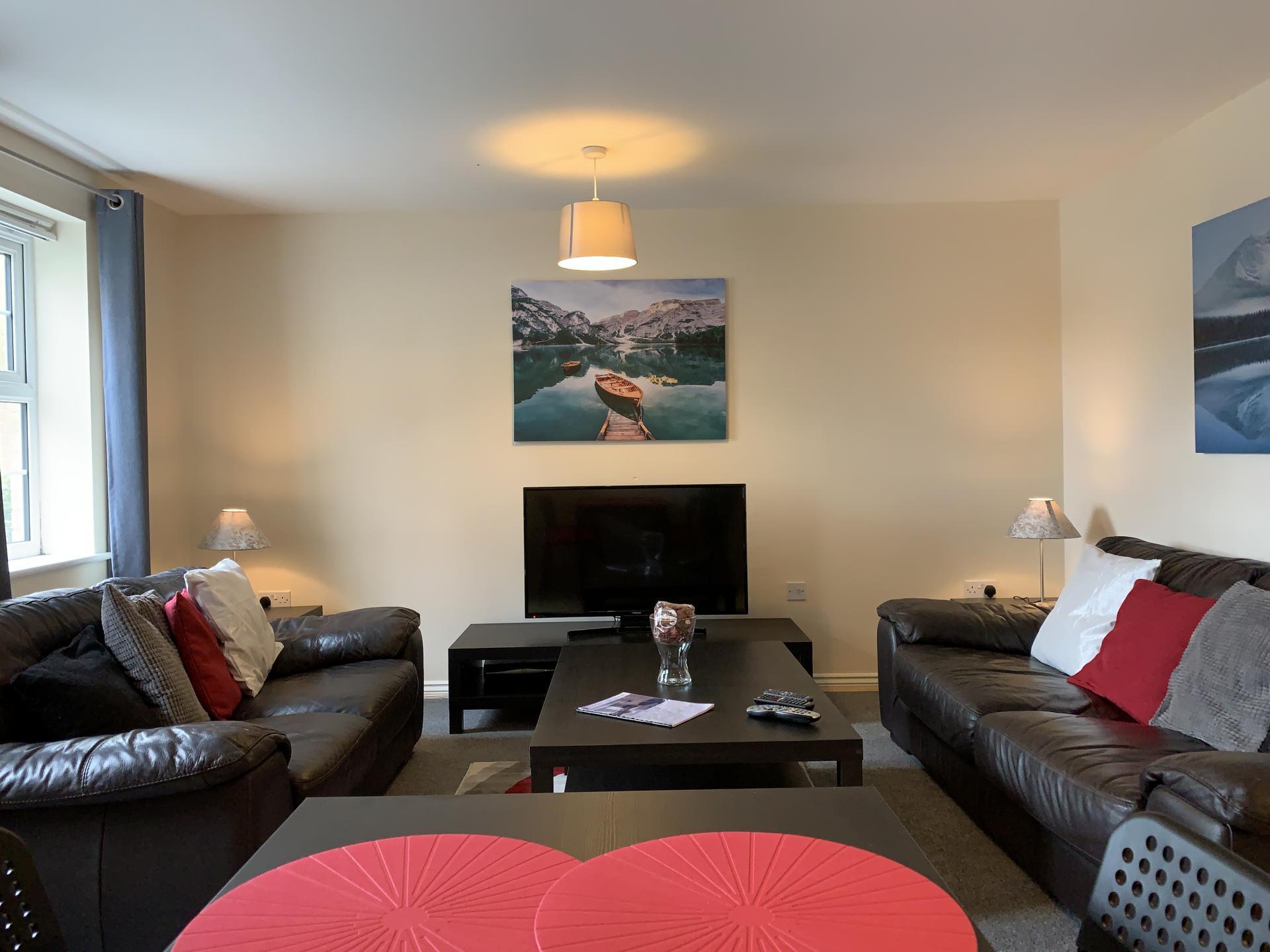 Living room at Barley Mews Apartments, Centre, Peterborough
