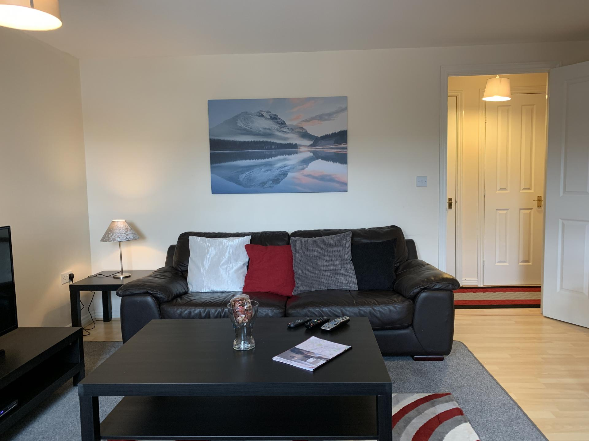 Black sofa at Barley Mews Apartments, Centre, Peterborough