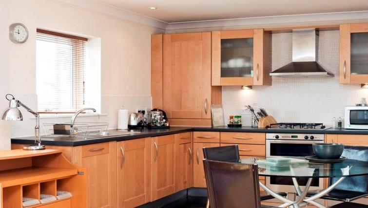 Sleek kitchen in Market Rise Apartments