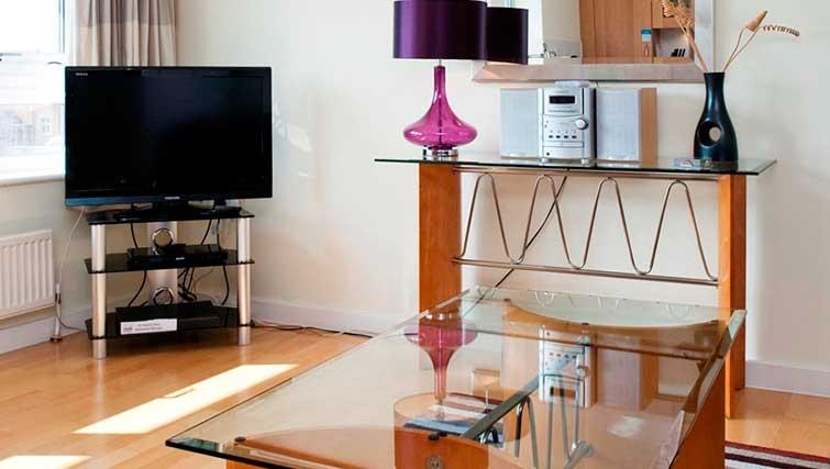 Stylish living area at Market Rise Apartments