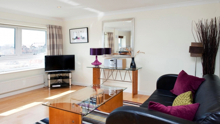 Bright living area at Market Rise Apartments