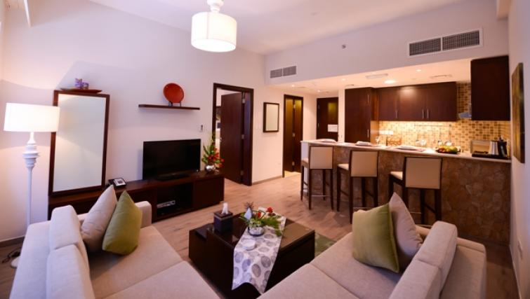 Living area at Links Hotel Apartments