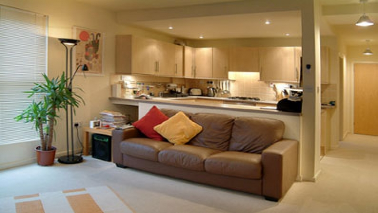 Open-plan living area at Golden Triangle Apartments