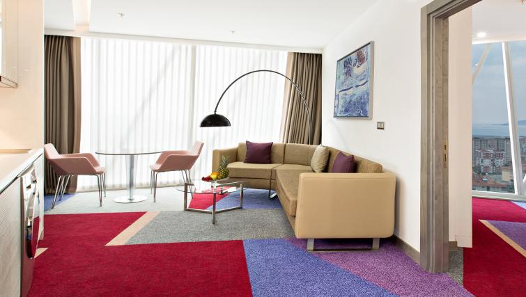 Spacious living area at Burgu Arjaan Apartments