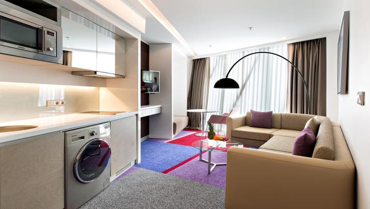 Living/kitchen at Burgu Arjaan Apartments