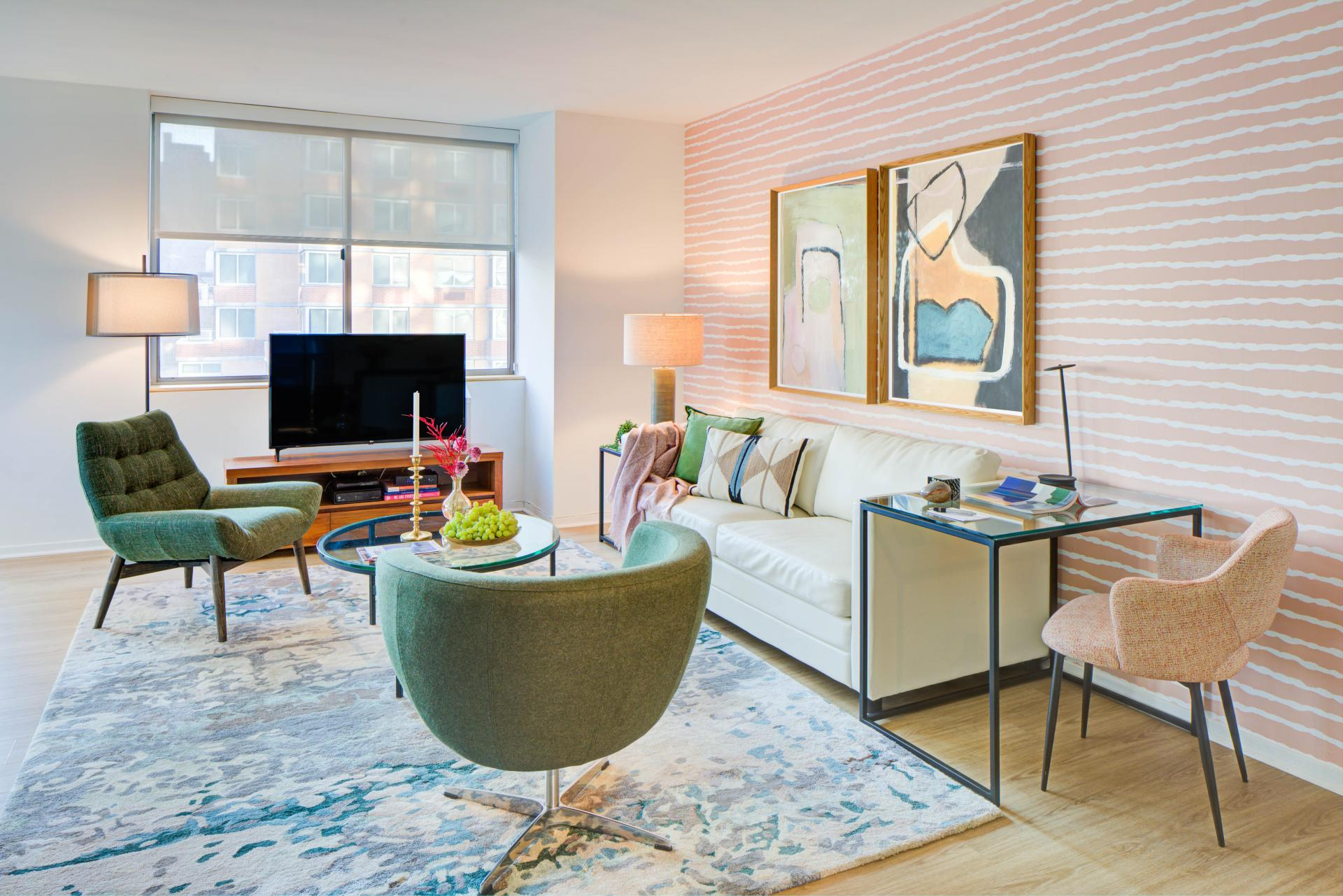 Living area at 777 Sixth Avenue Apartments, Chelsea, New York