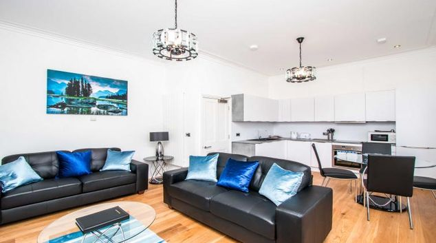 Living area at Beaufort House Apartments