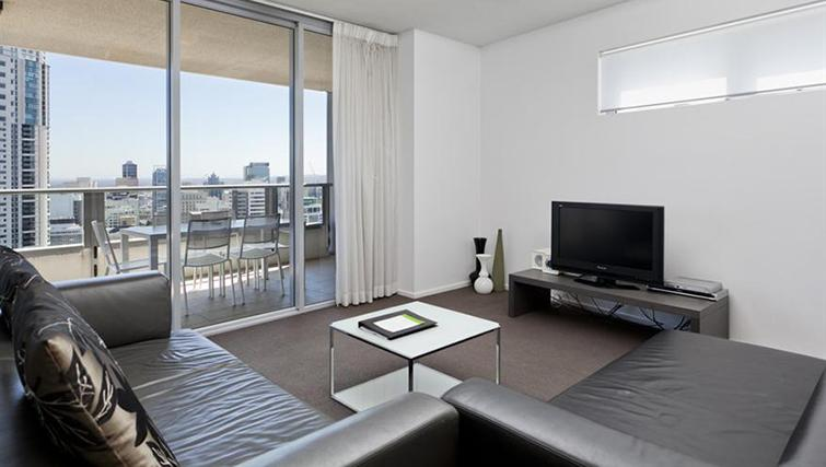 Living area in 3 bed at Mantra on the Quay