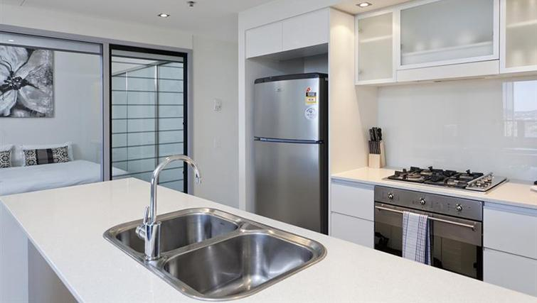 Kitchen in 2 bed at Mantra on the Quay