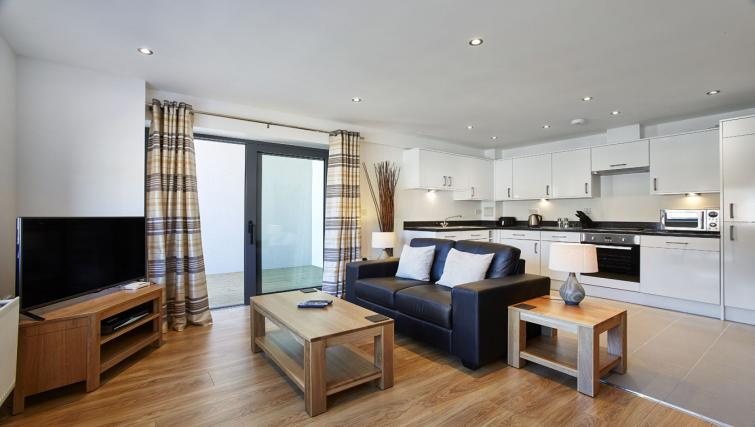 Open-plan living area at Colne Lodge Apartments
