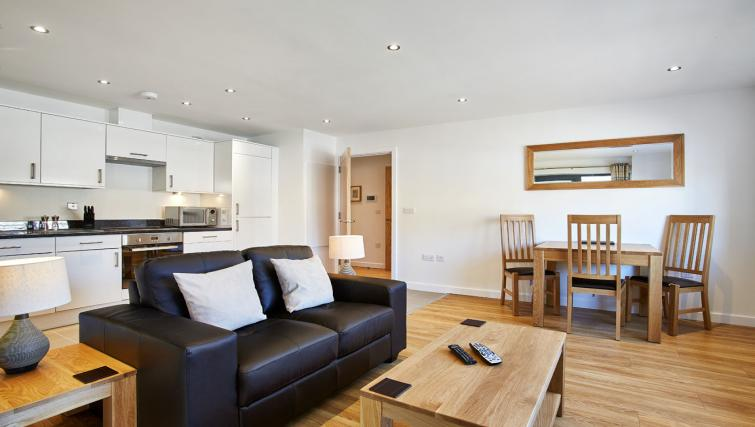 Modern living area at Colne Lodge Apartments
