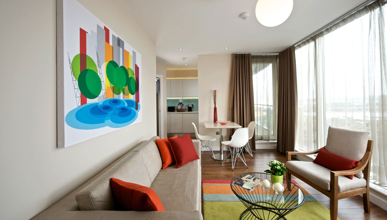 Stylish living area at Fraser Place Canary Wharf