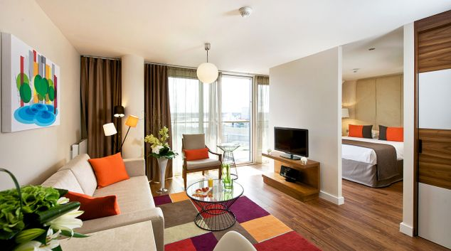 Living room at Fraser Place Canary Wharf