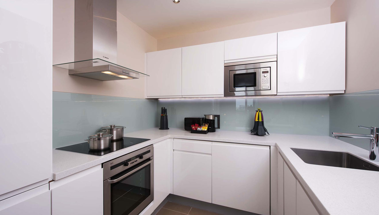 Kitchen at Fraser Place Canary Wharf
