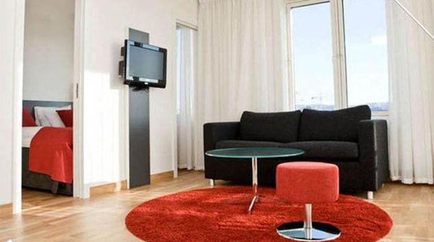 Living area at Thon Oslo Panorama Apartments