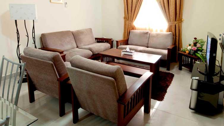 Living room at La Villa Inn Apartments