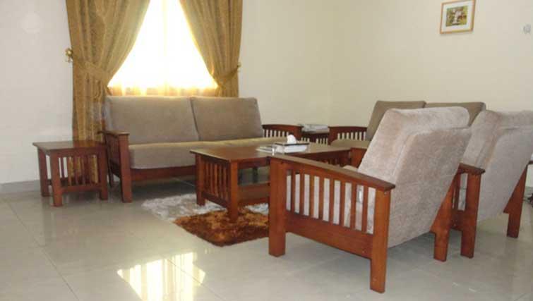Living area at La Villa Inn Apartments