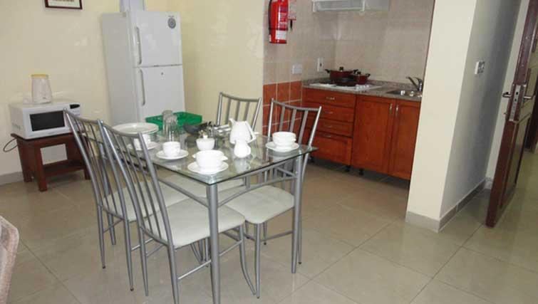Kitchen at La Villa Inn Apartments