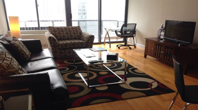Living area at The Ritz Plaza Apartments