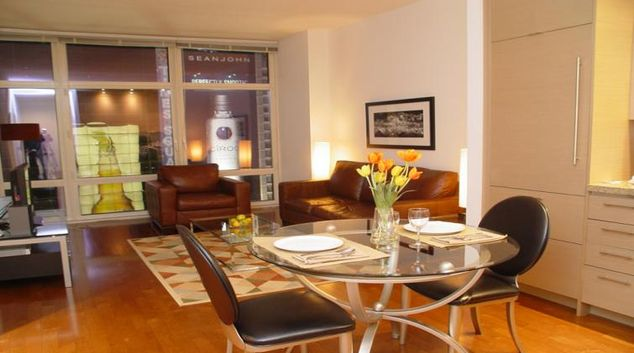 Living area at 1600 Broadway on the Square Apartments