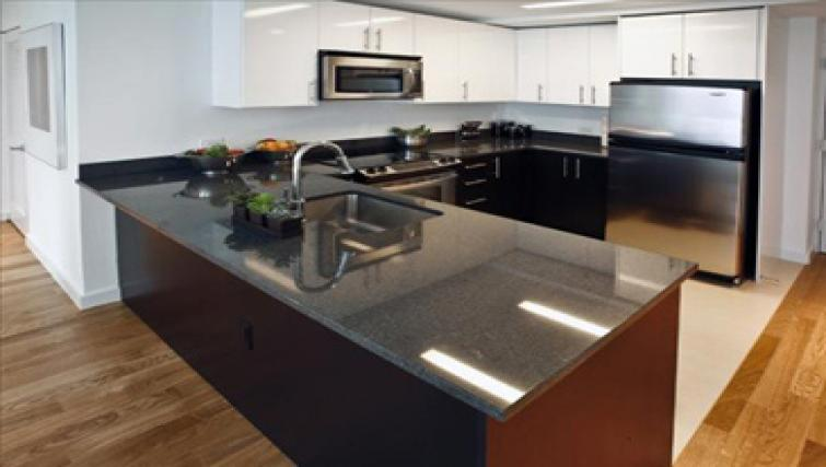 Open plan kitchen at ABA 70 Greene Apartments