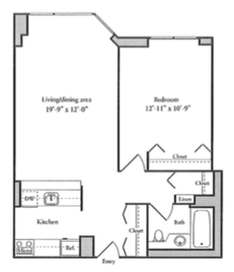 One bedroom floor at 50th Street Apartments