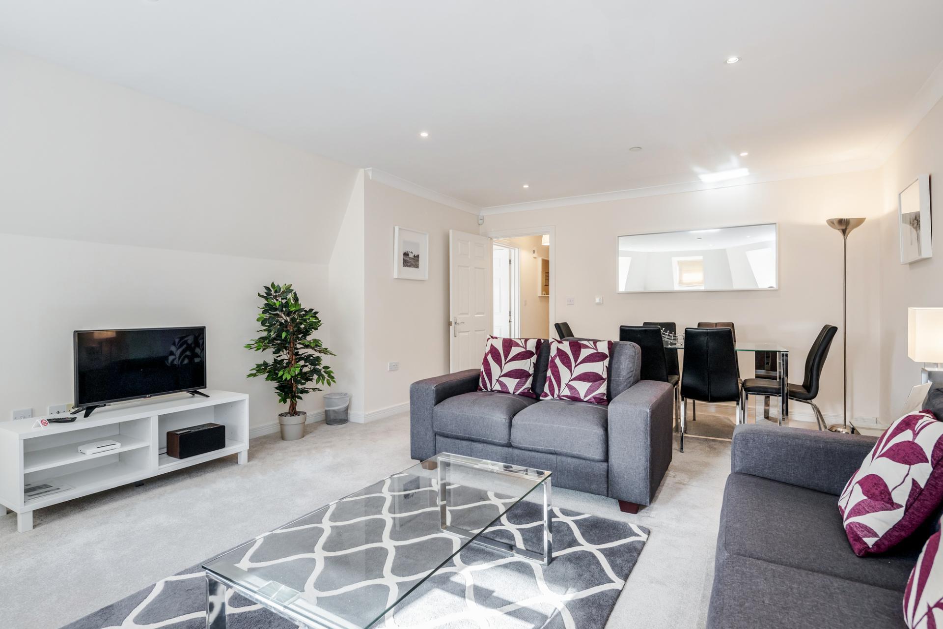 Living area at Royal Swan Quarter Apartments, Centre, Leatherhead