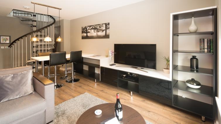 Modern living area at Fitzhamon Apartments