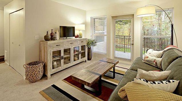 Living area at Bridges at North Creek Apartment
