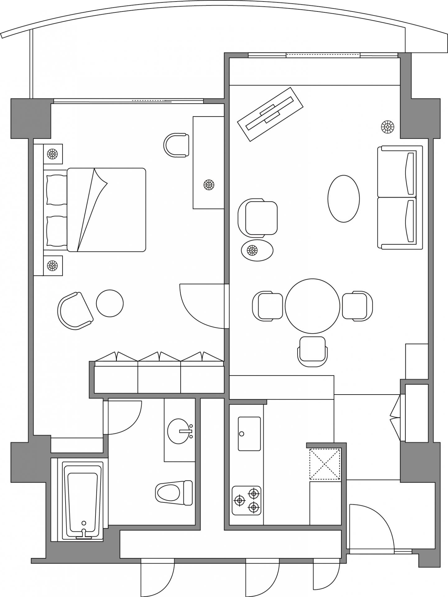 1 bedroom executive apartment floor plan at Somerset Shinagawa Apartments
