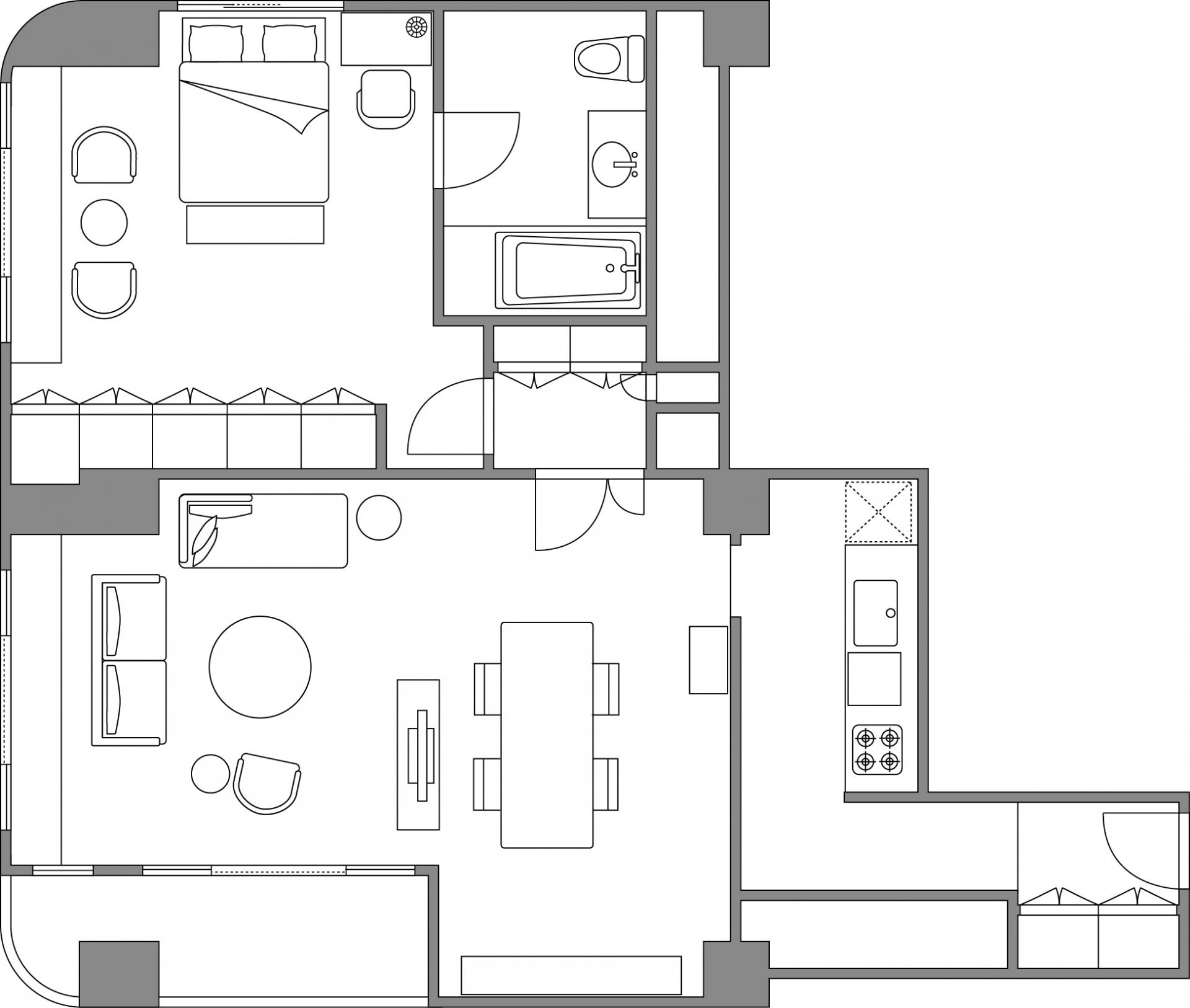 1 bedroom premier apartment floor plan at Somerset Shinagawa Apartments