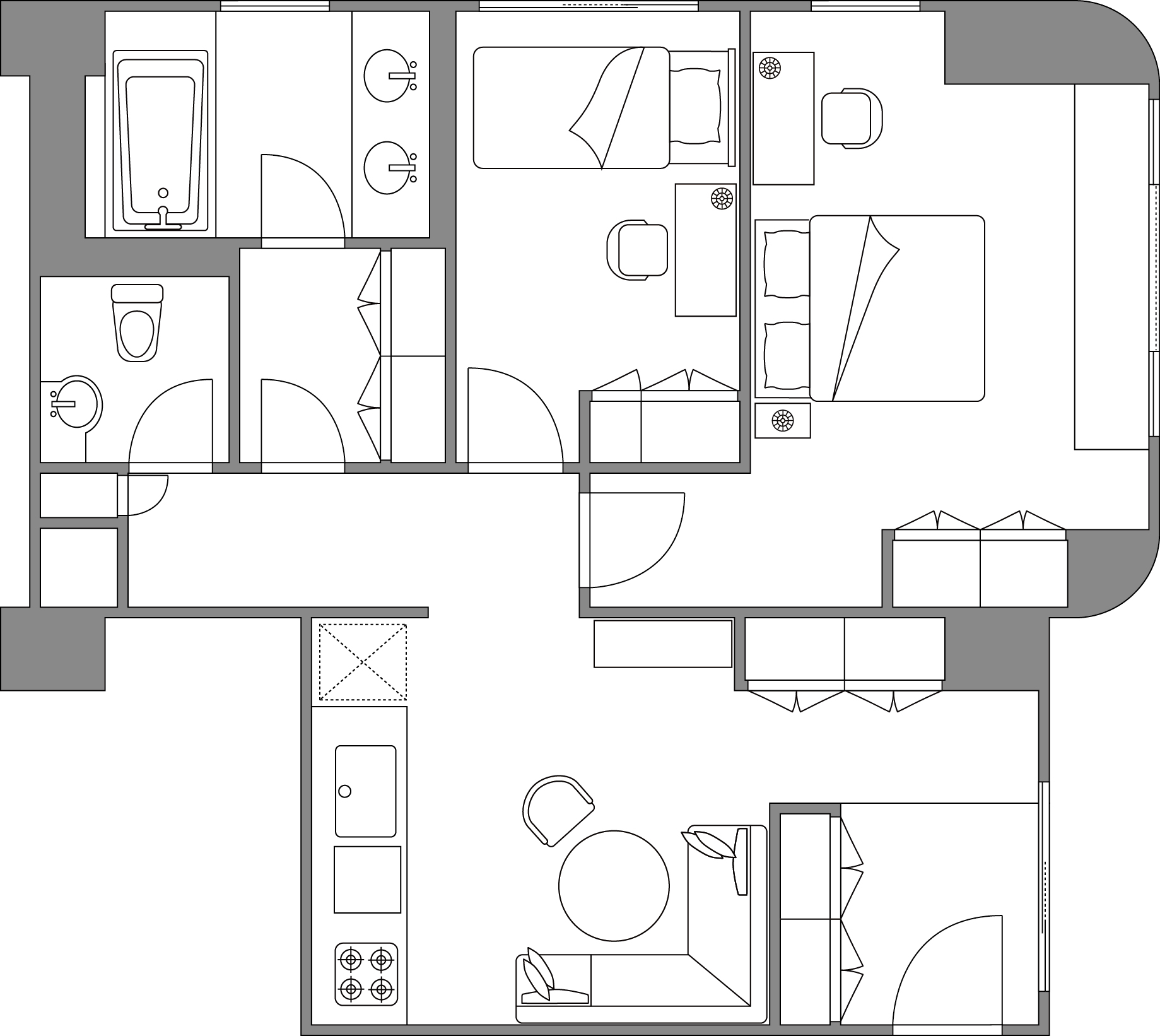 2 bedroom deluxe apartment floor plan at Somerset Shinagawa Apartments