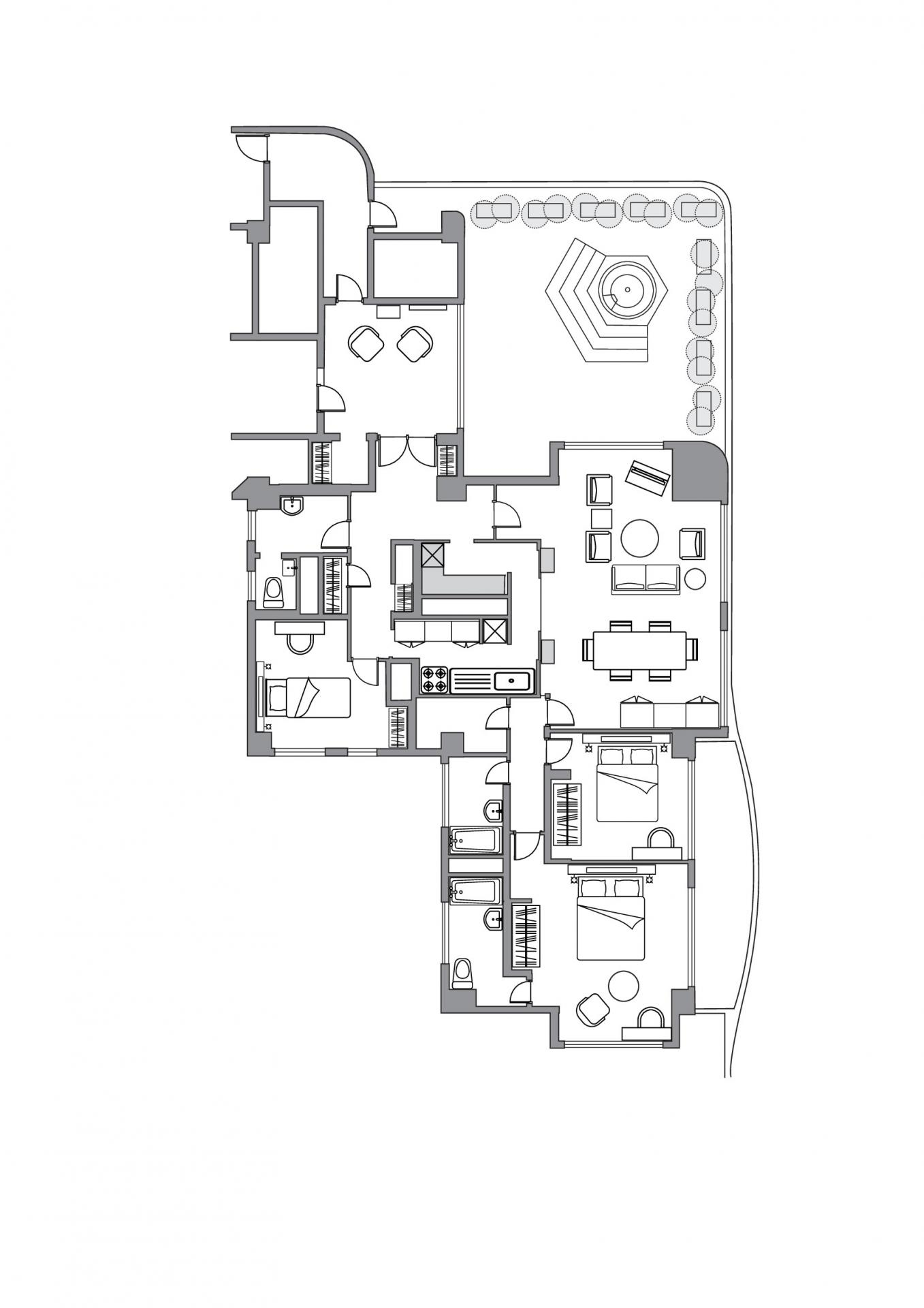 2 bedroom premier apartment floor plan at Somerset Shinagawa Apartments