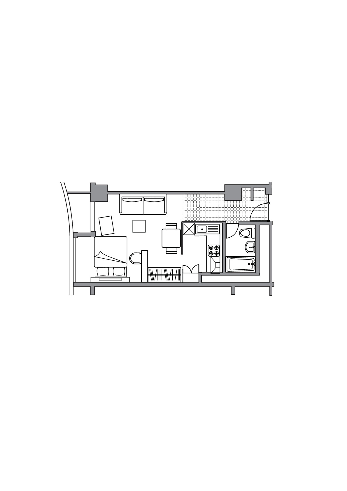 Executive studio apartment floor plan at Somerset Shinagawa Apartments