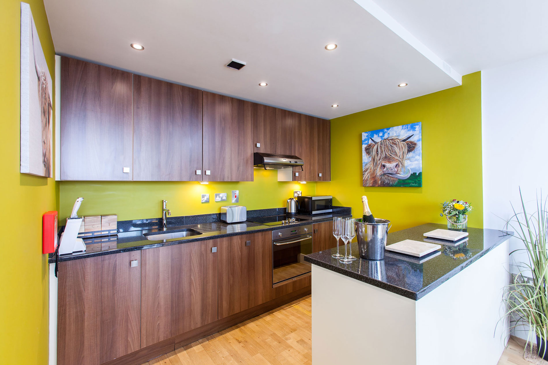 Wooden kitchen at Sinclair Apartments, Centre, Sheffield