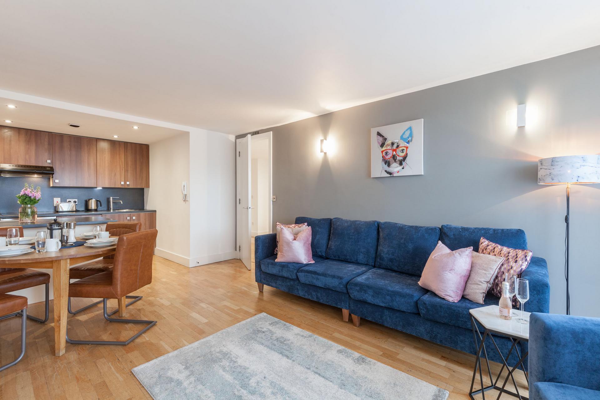 Blue sofa at Sinclair Apartments, Centre, Sheffield