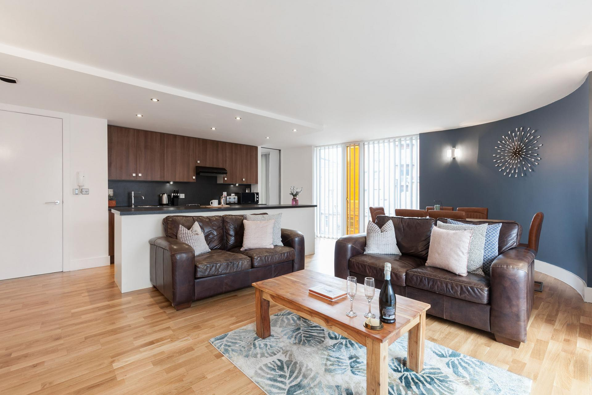 Open-plan layout at Sinclair Apartments, Centre, Sheffield