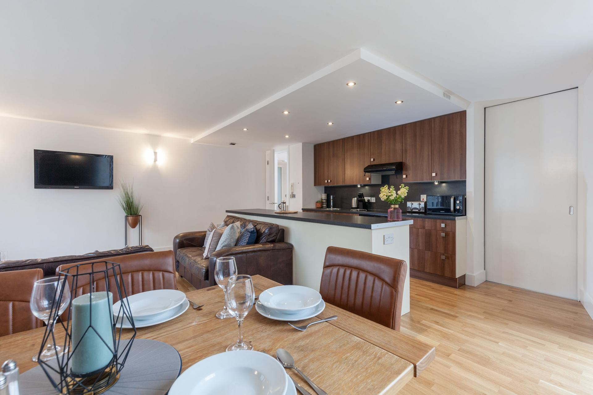 Kitchen diner at Sinclair Apartments, Centre, Sheffield