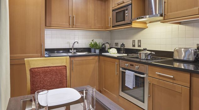 Kitchen at Queen Street St Paul's Apartments, Mansion House, London