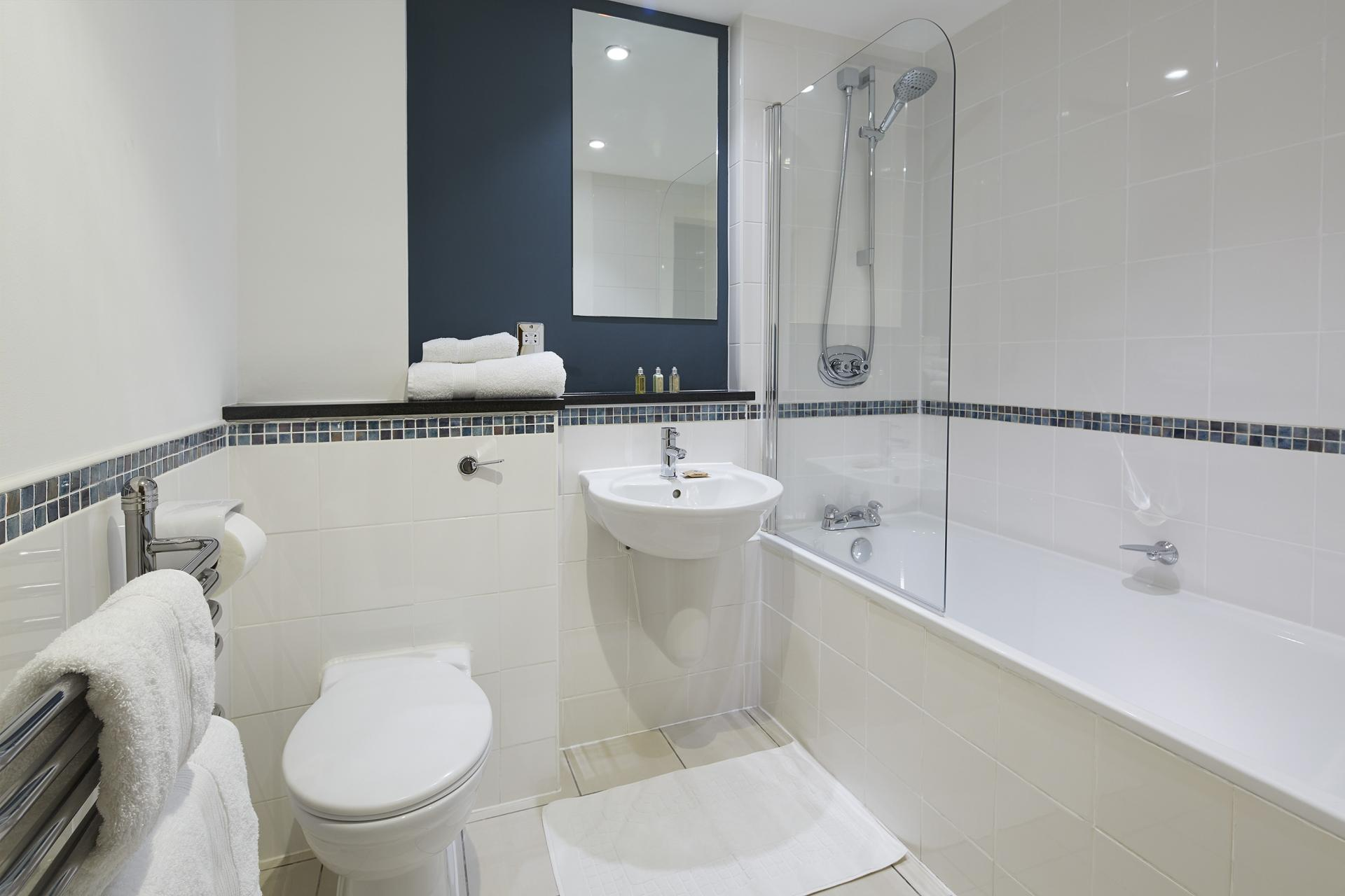 Modern bathroom at Queen Street St Paul's Apartments, Mansion House, London